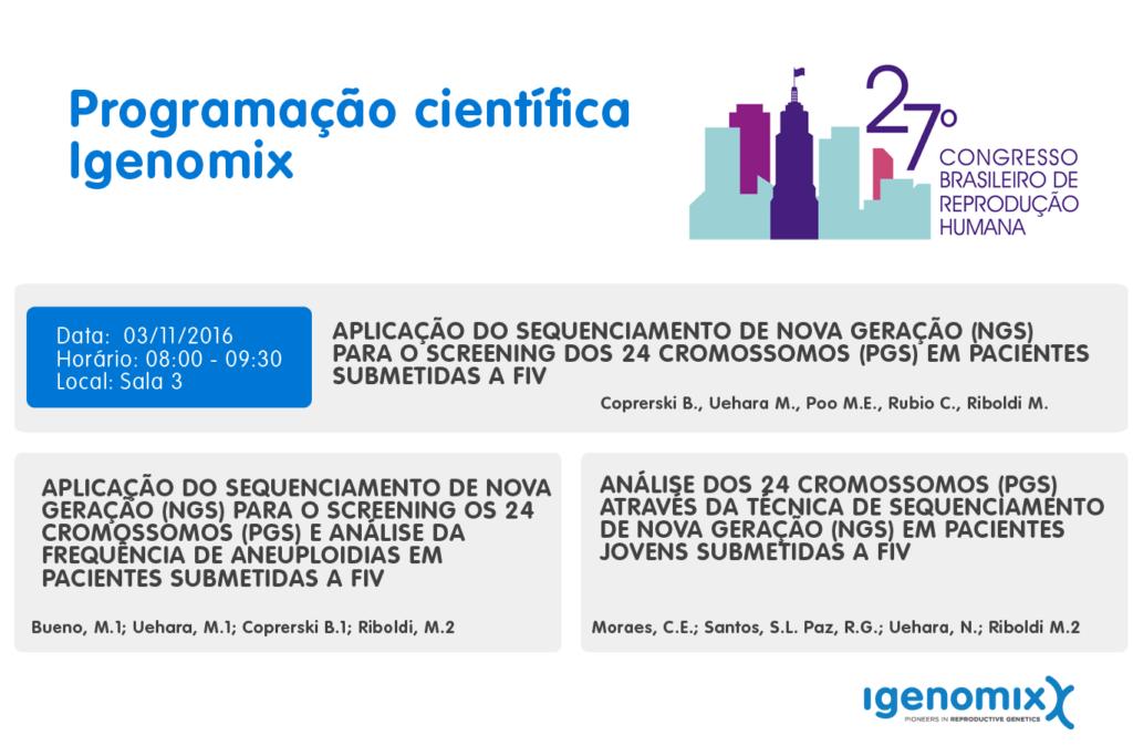 Programação científica Igenomix no 27º Congresso Brasileiro de Reprodução Humana