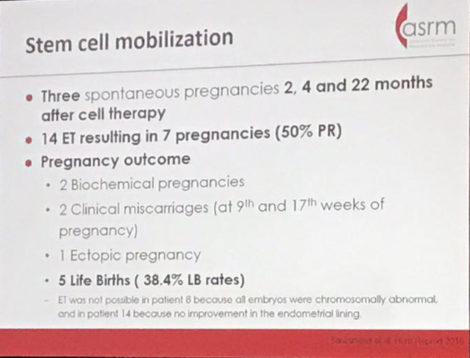 ASRM2017 stem cell treatment for endometrial atrophy