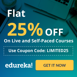 Edureka - Flat 25% OFF On Live Courses