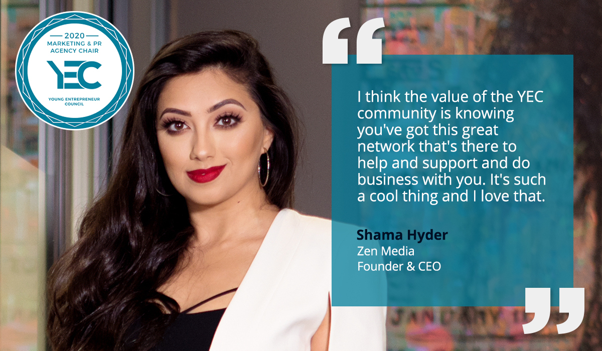 Shama Hyder is the YEC Marketing and PR Agency Group Chair
