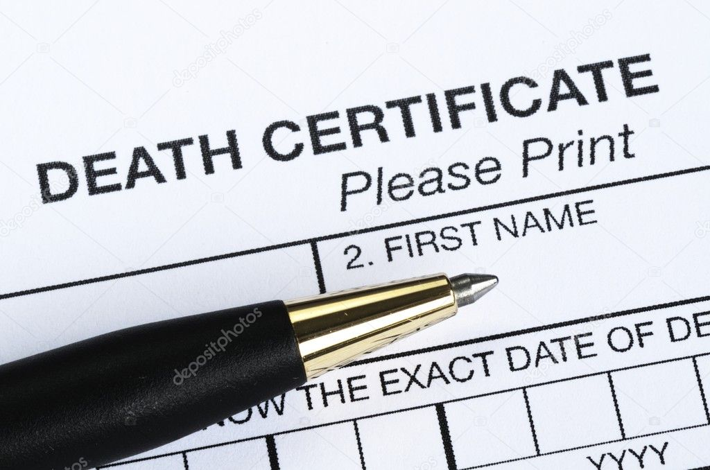 Death certificate with pen on the paper