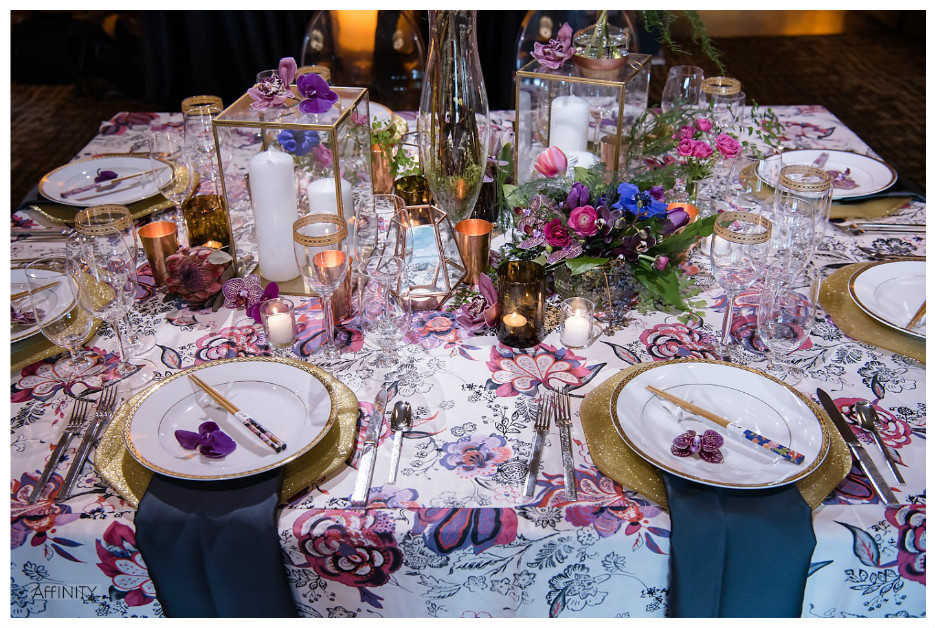 Glimmering Gold Charger Plates with Bold Print Table Event Decor | BBJ Linen