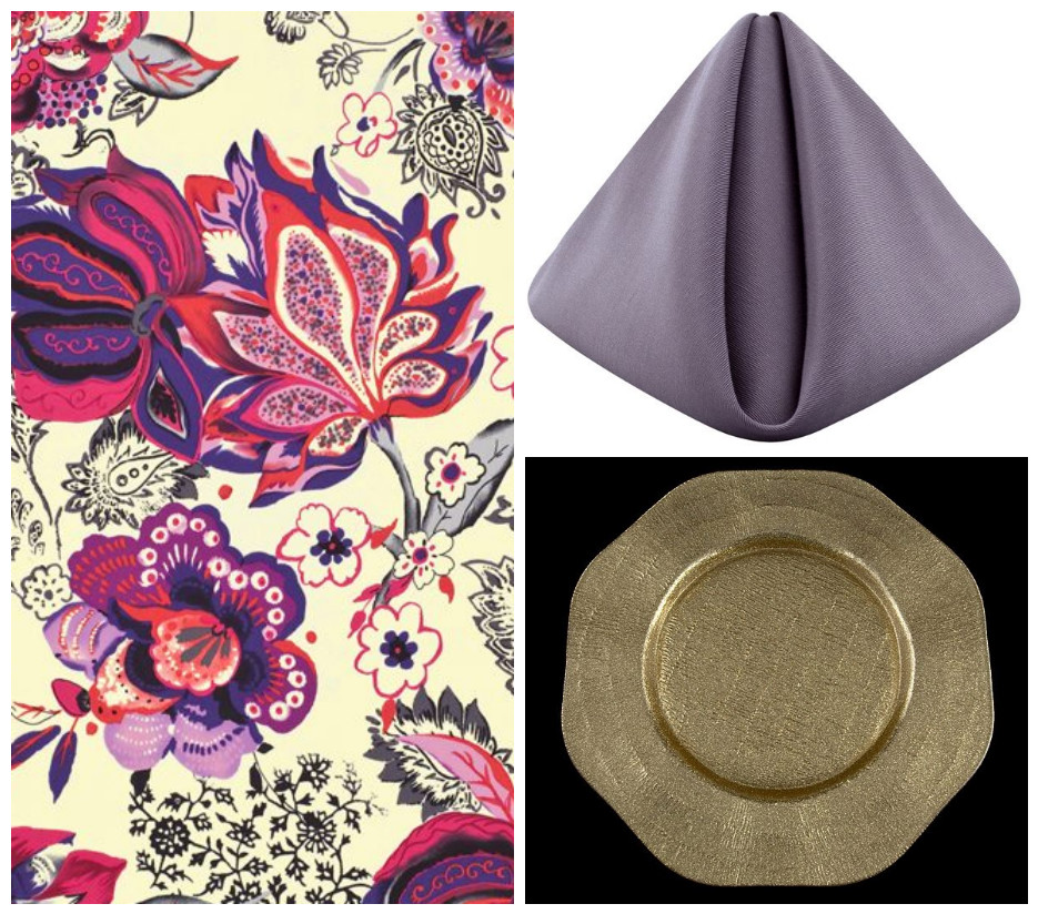 Adele Lamour Table Linen with Purple Smoke Bengaline Napkins and Octagon Gold Charger Plate | BBJ Linen