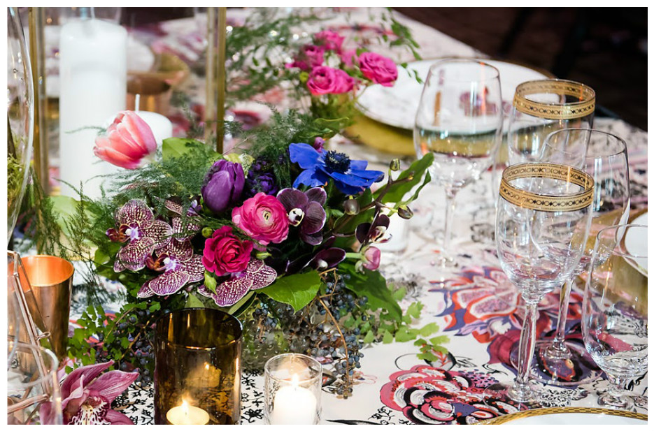 Gold Party Glassware with Bold Purple Print Event Decor | BBJ Linen