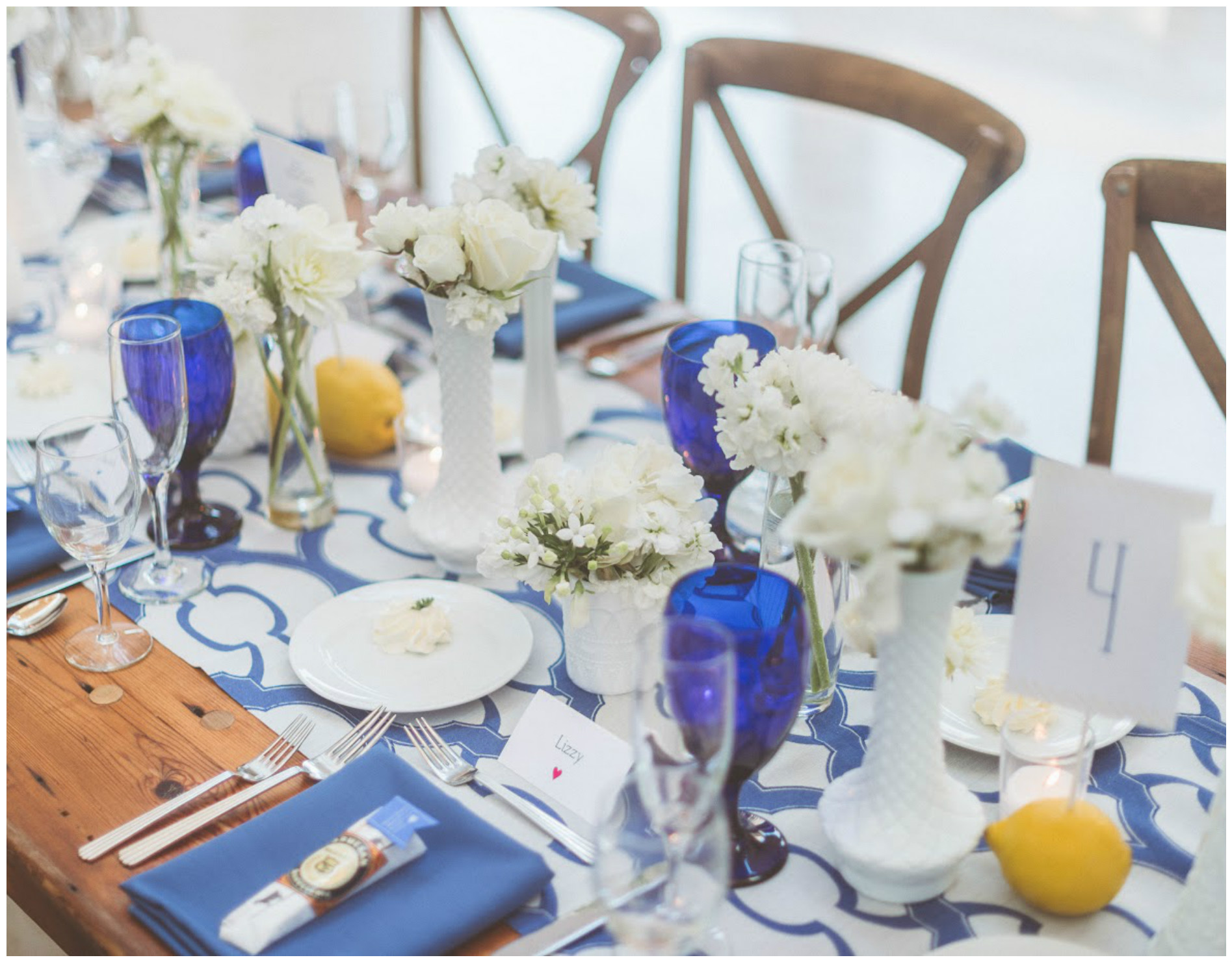 Blue, White, and Yellow Table Event Decor | BBJ Linen