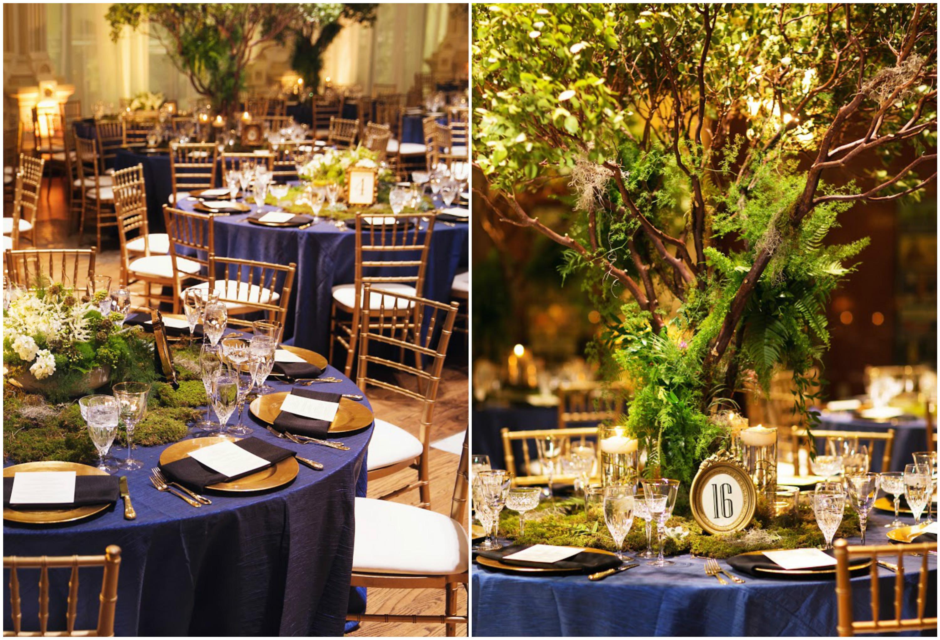 Blue Tree Table Centerpieces Event Decor | BBJ Linen