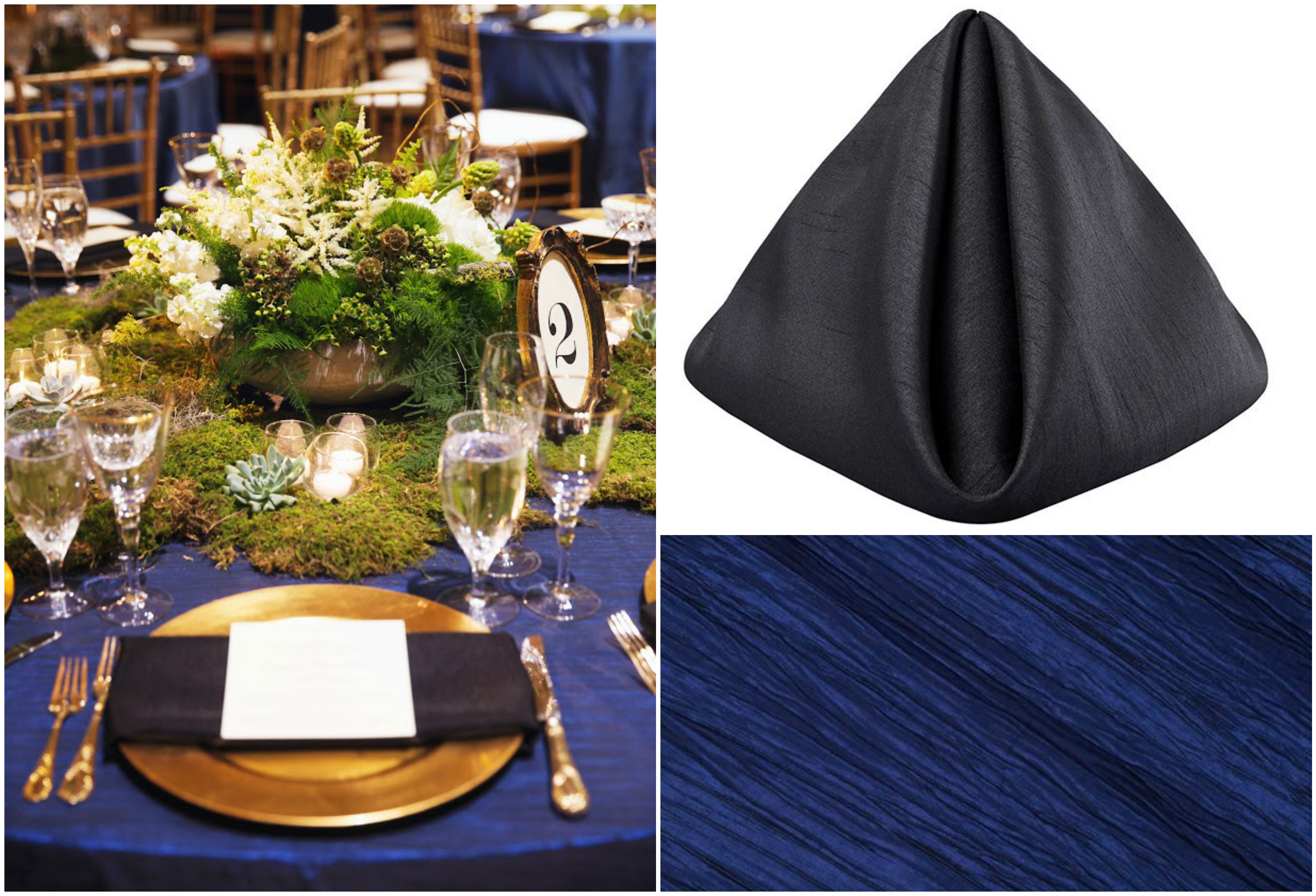 Black Shantung Napkin and Navy Blue Table Event Decor | BBJ Linen
