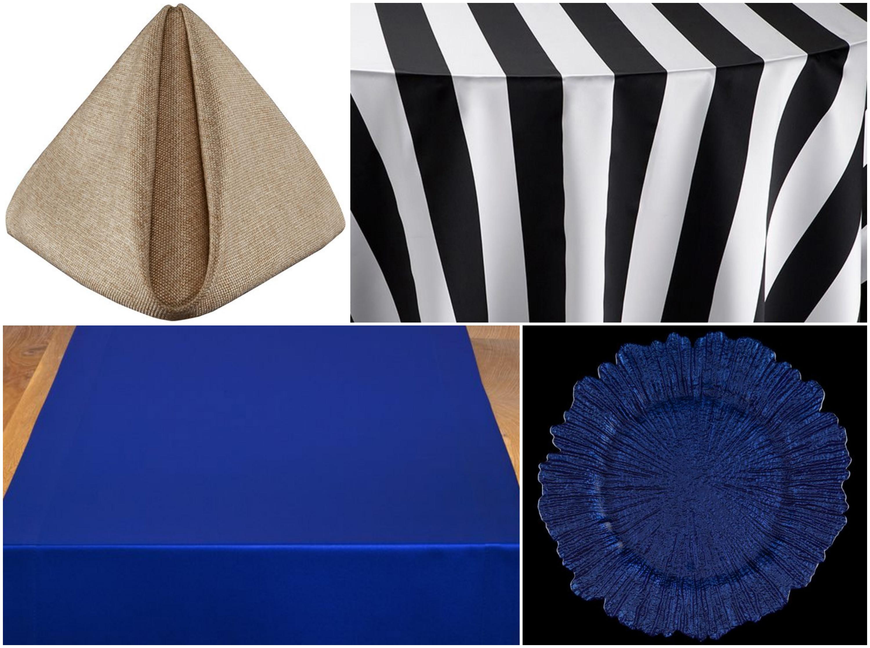 Black Mod Stripe Table Linen with Gold Alkaline Napkins and Sapphire Table Runner | BBJ Linen