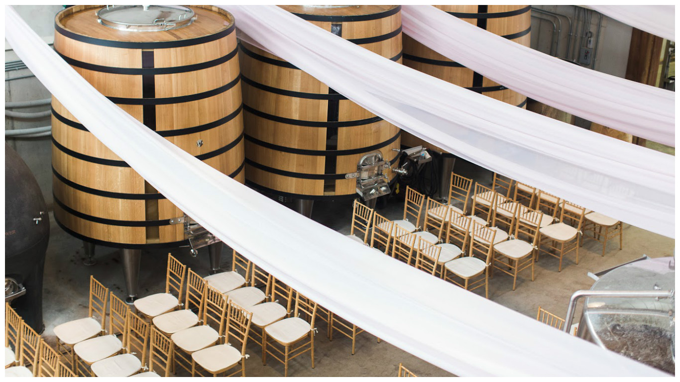 Winery Wedding in Barrel Room | BBJ Linen