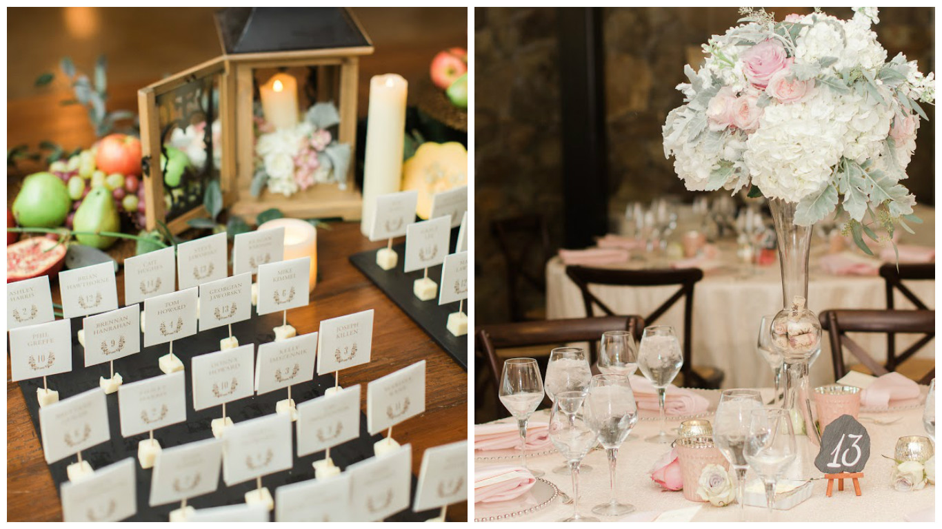 Romantic Wedding Table Numbers and Name Placecards Event Decor | BBJ Linen