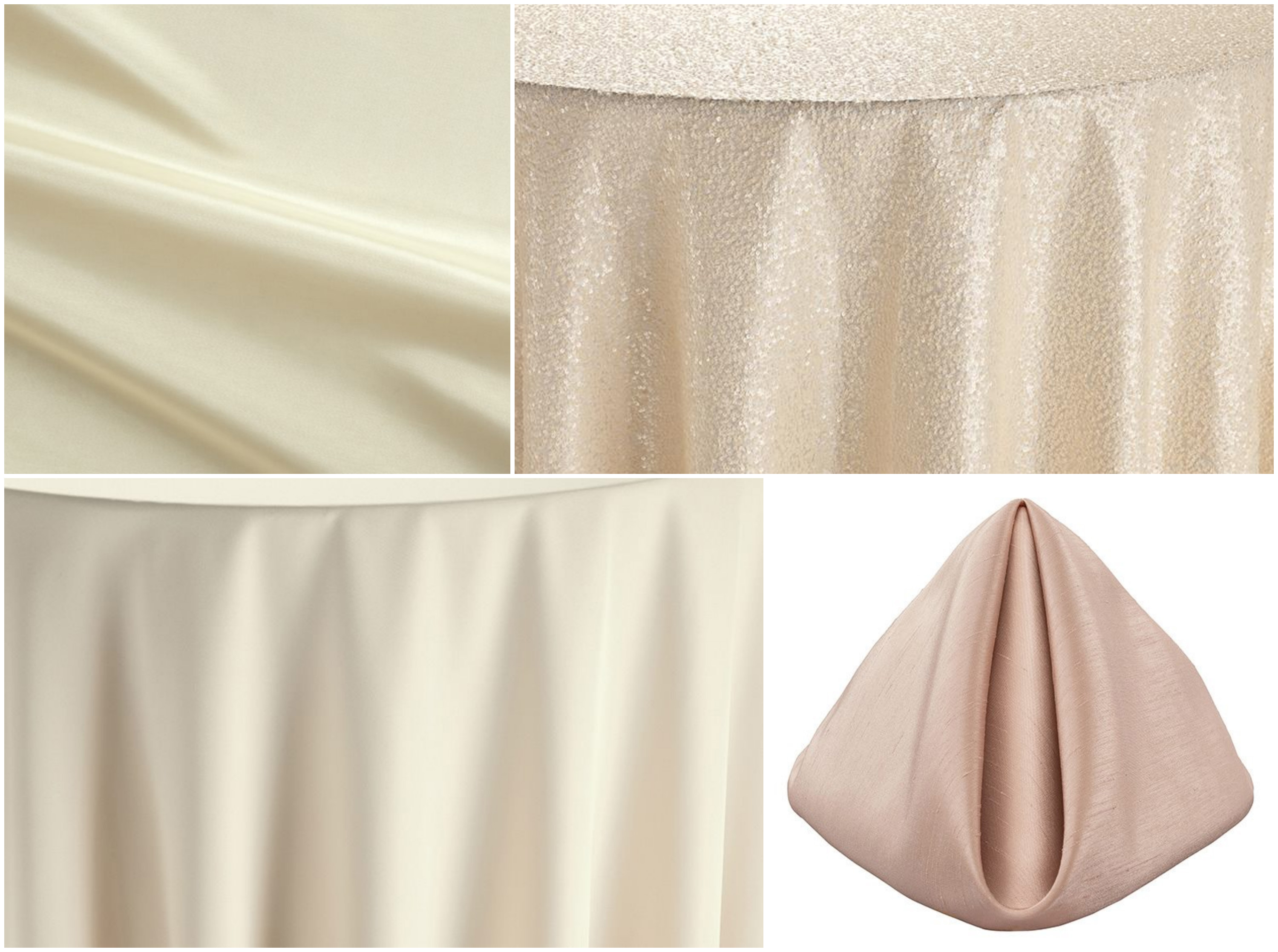 Cameo Shantung Napkins and Ivory Classic Table Linen | BBJ Linen