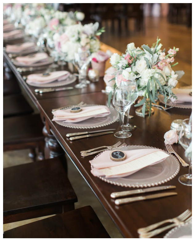 Romantic Pink Wedding Table Decor | BBJ Linen