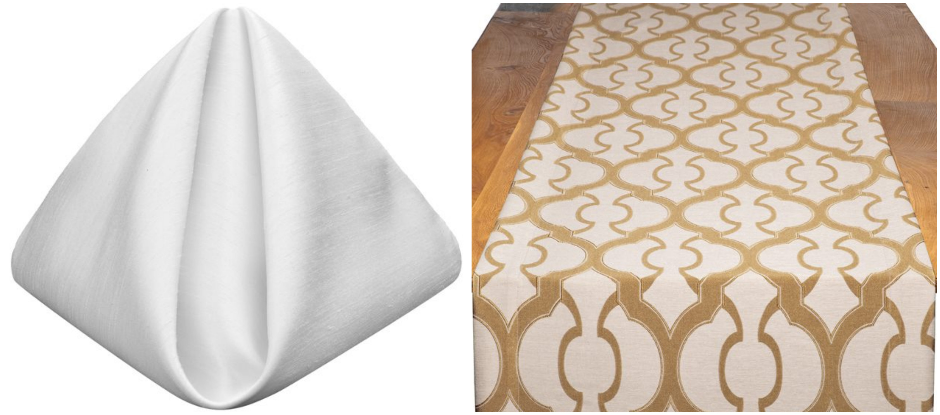 White Shantung Napkins with Gold Miramar Table Runners | BBJ Linen