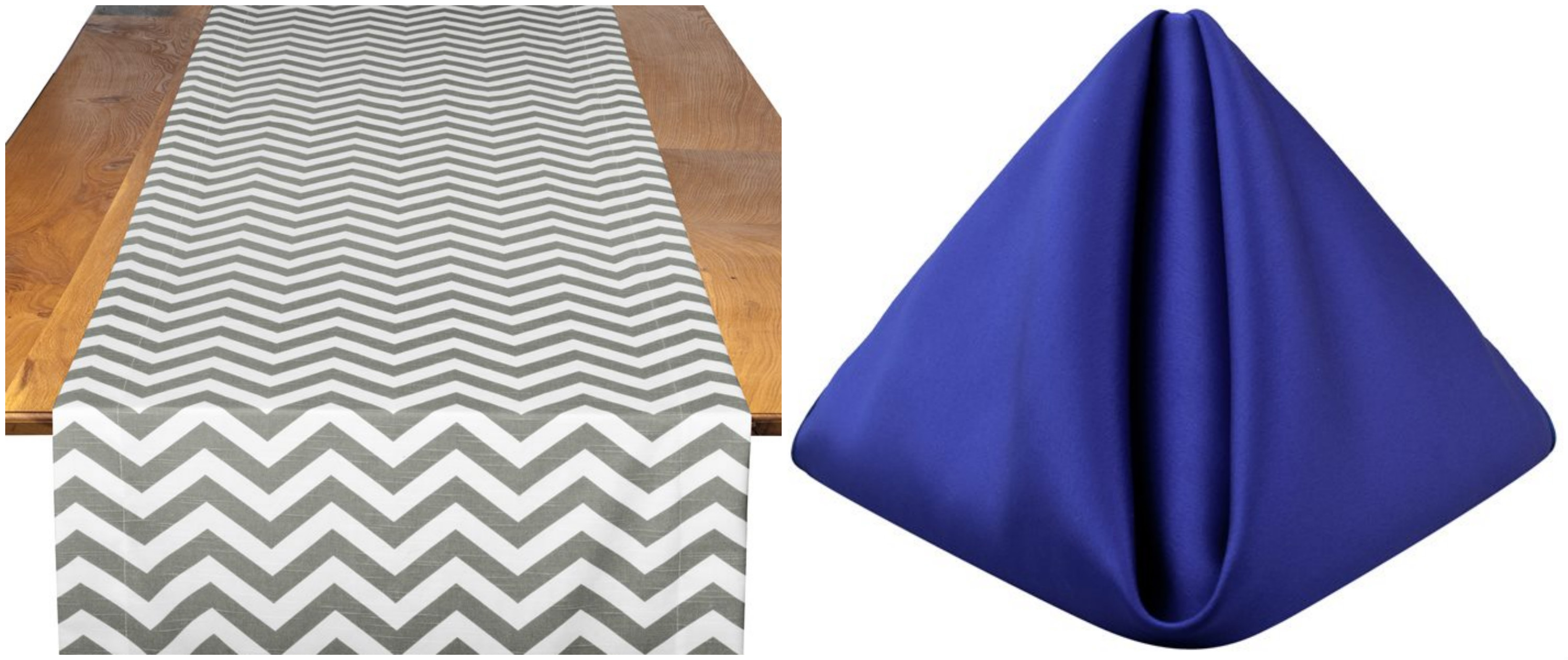 Pewter Chevron Table Runner with Sapphire Lamour Napkins | BBJ Linen