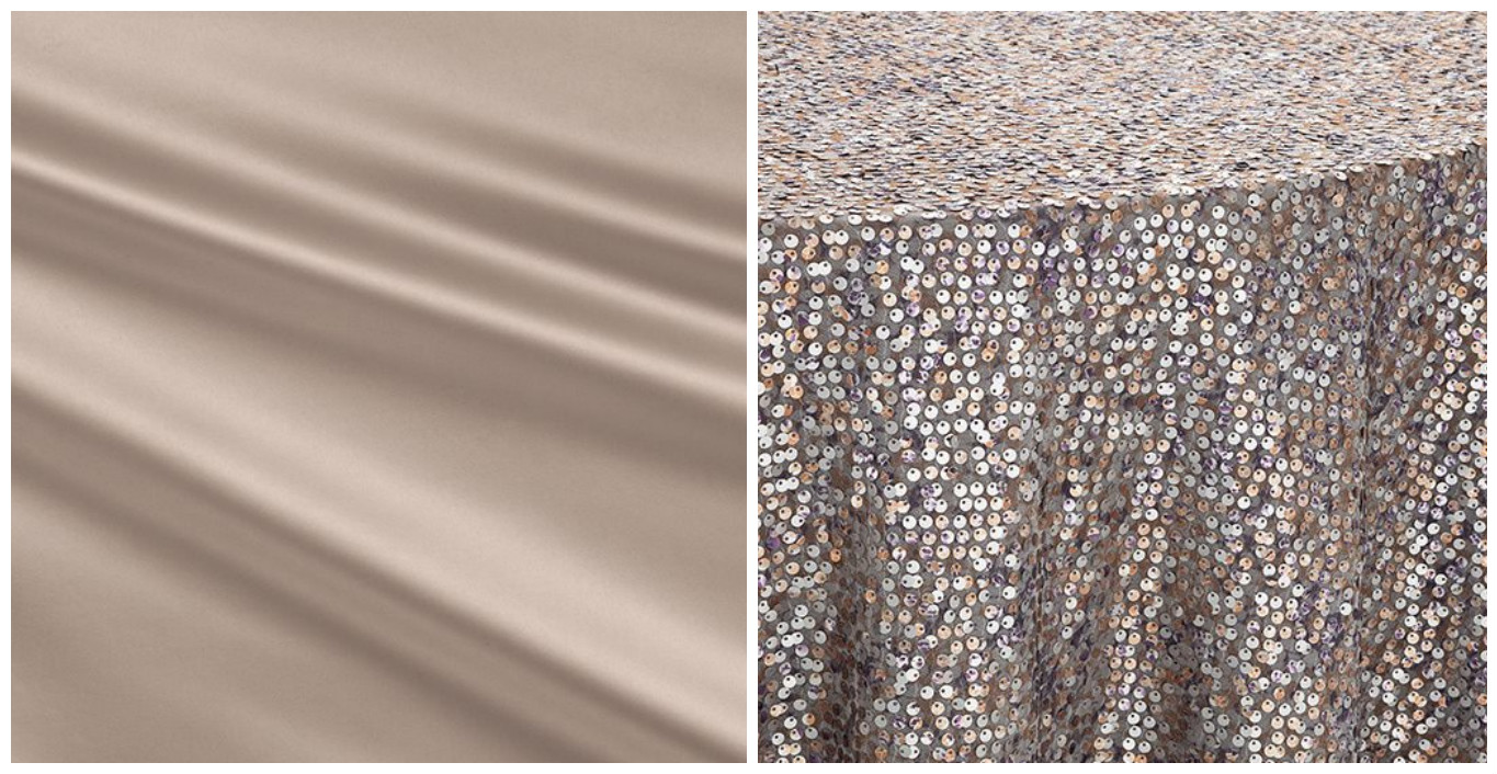 Taupe Lamour Table Linen with Mercury Sequin Overlay | BBJ Linen