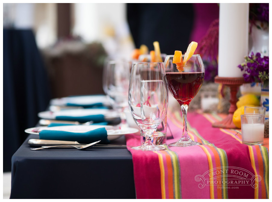 Navy Blue and Magenta Table Decor | BBJ Linen