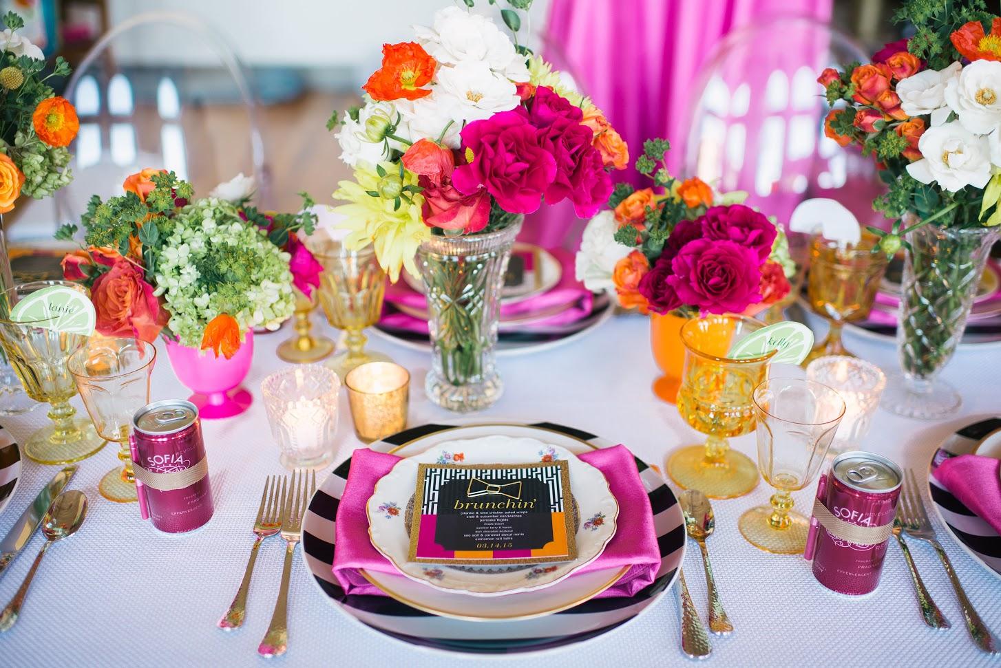 Magenta and Tangerine Brunch Event Decor | BBJ Linen