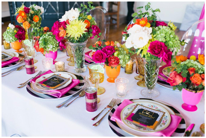 Magenta and Tangerine Floral Brunch Event Decor | BBJ Linen