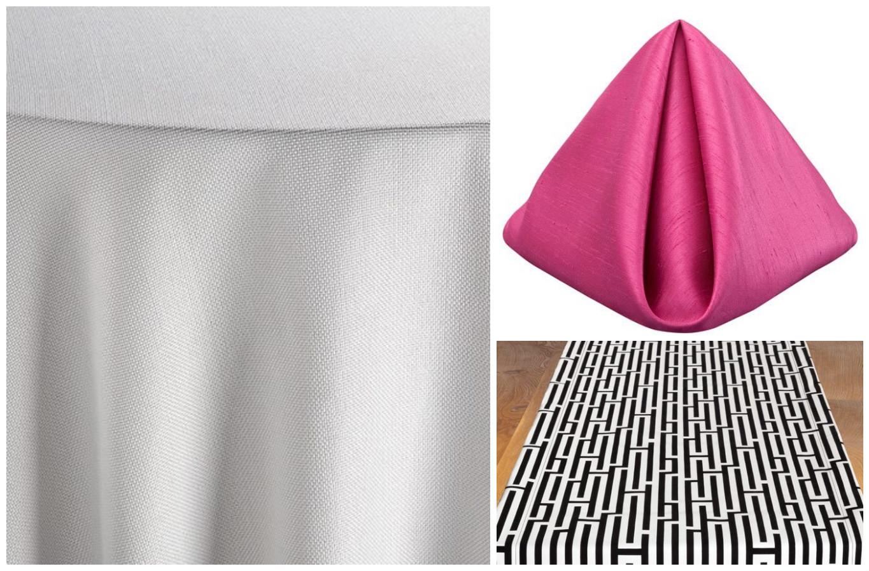White Jute Table Linen with White Gemini Table Runner and Azalea Shantung Napkins | BBJ Linen
