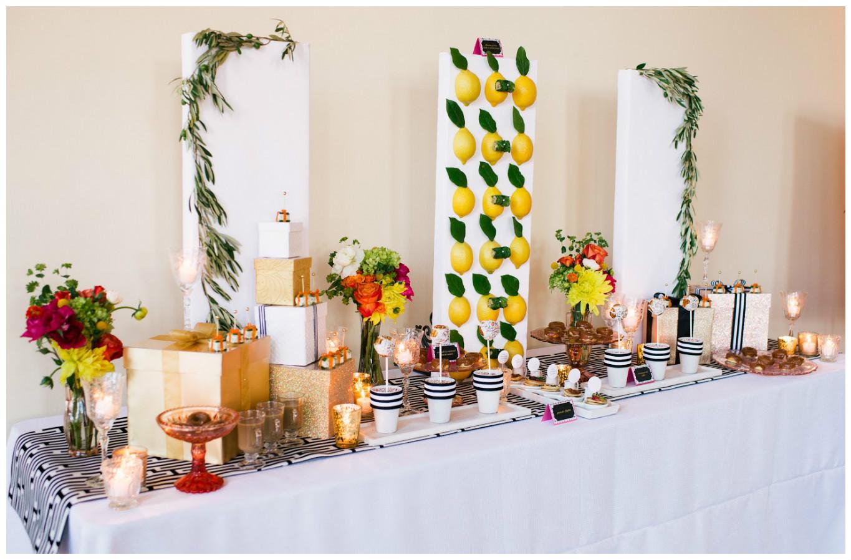 Lemon and Striped Sweet Table Event Decor | BBJ Linen