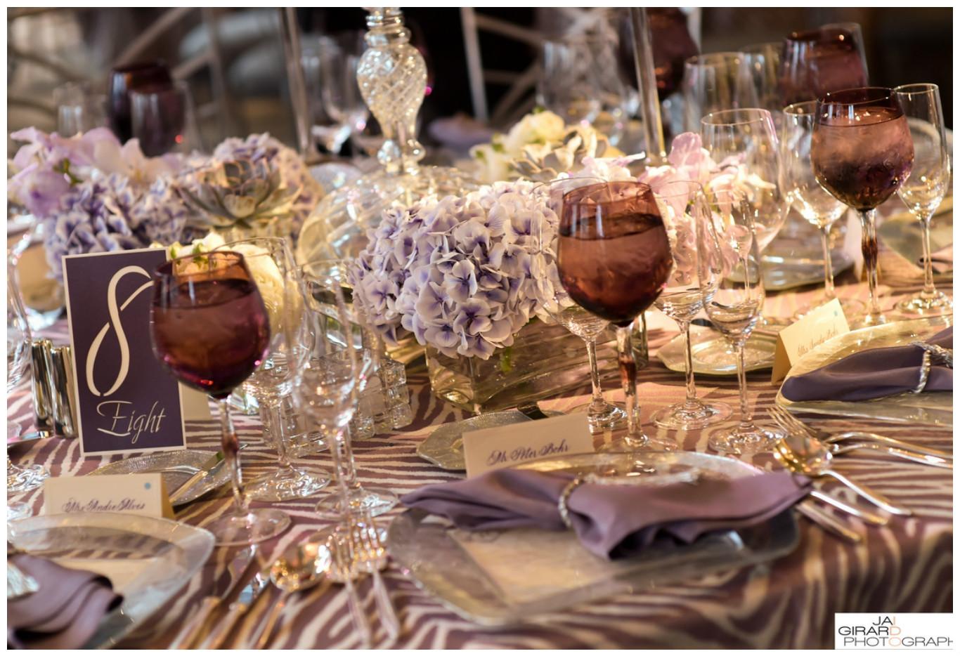 Smoky Purple Wine Glasses and Napkins Event Decor | BBJ Linen