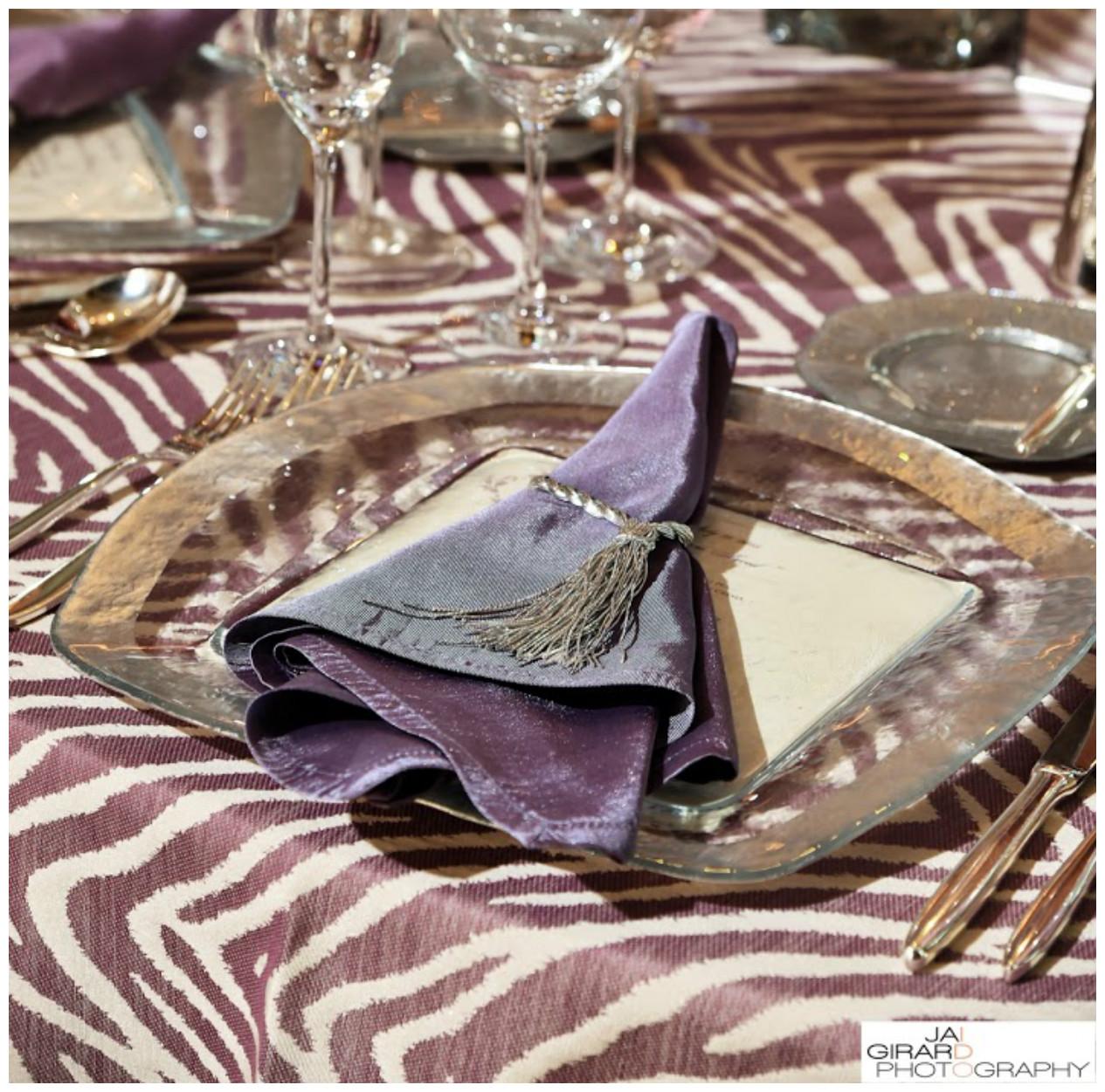 Metallic Plates and Purple Napkin Event Decor | BBJ Linen