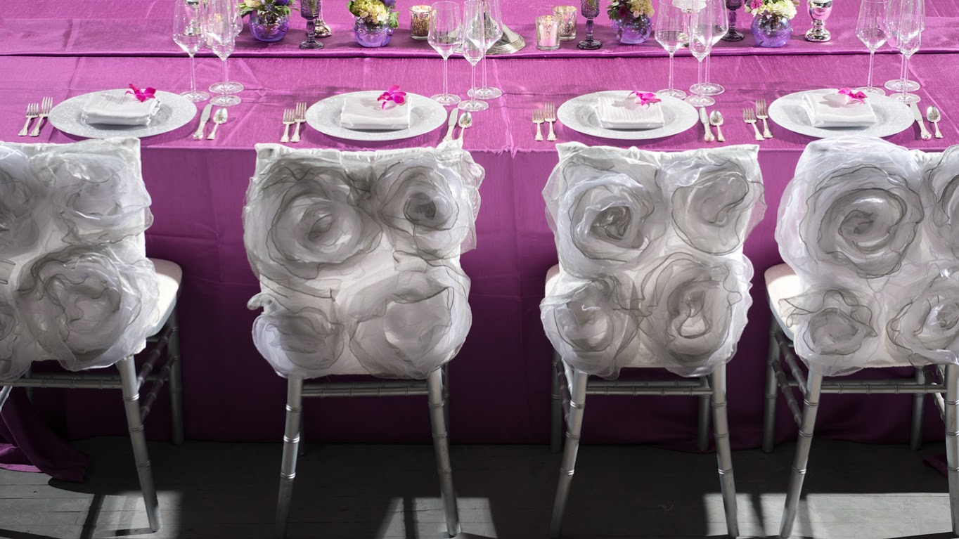 Orchid Shantung Table Linen with Silver Rosette Chair Backs Event Decor | BBJ Linen
