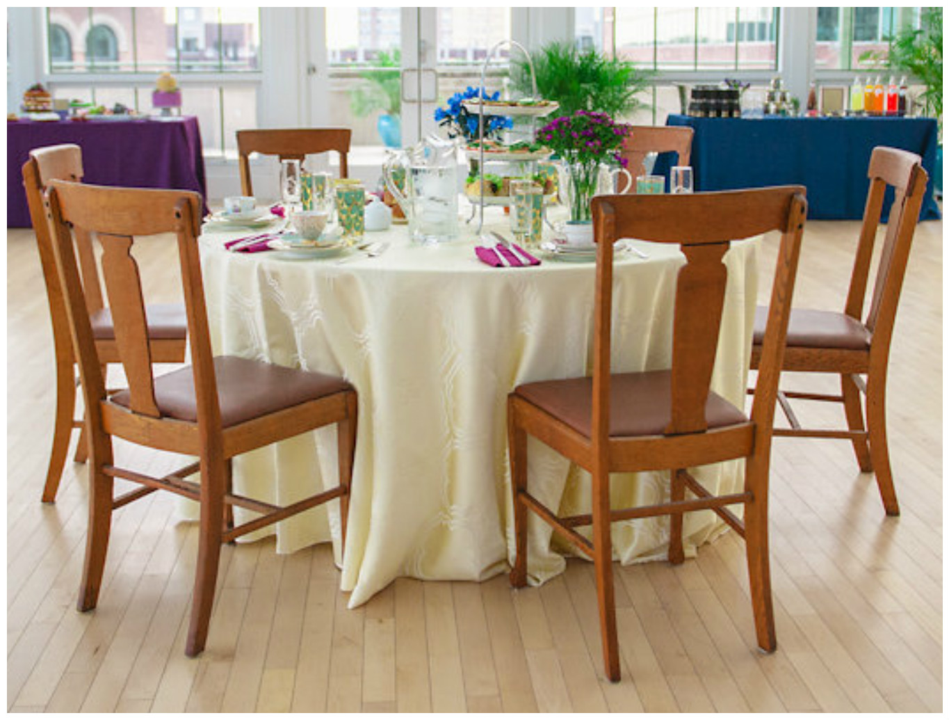 Rustic WoodenChairs with Ivory Linen | BBJ Linen