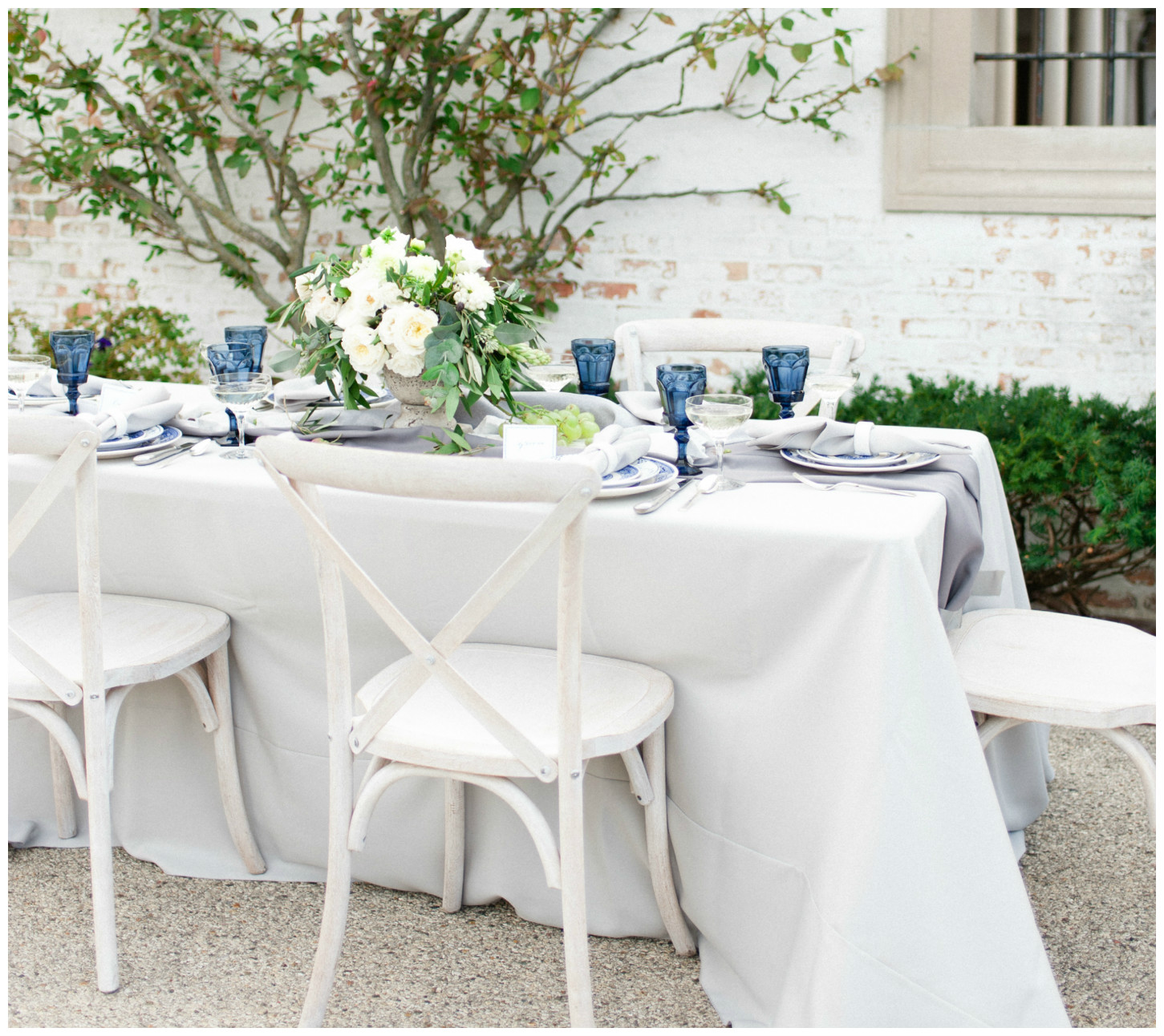 Silver Duet Table Linen with Indigo Glassware Wedding Decor | BBJ Linen