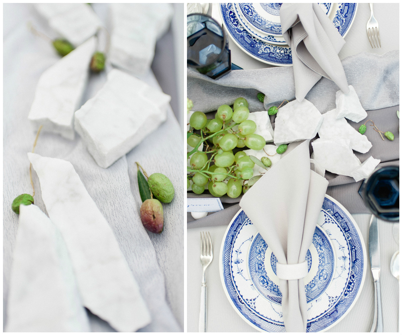 Blue China Wedding Table Decor | BBJ Linen