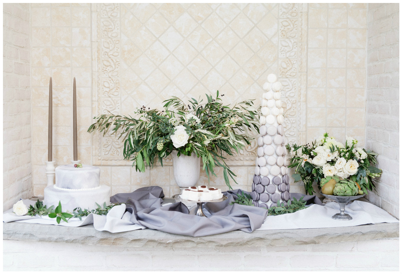 Italian Marble Gray Ombre Wedding Decor Theme | BBJ Linen