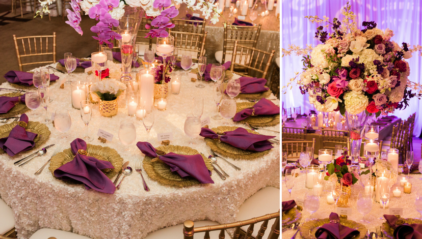 Purple Napkins and Gold Chargers | BBJ Linen