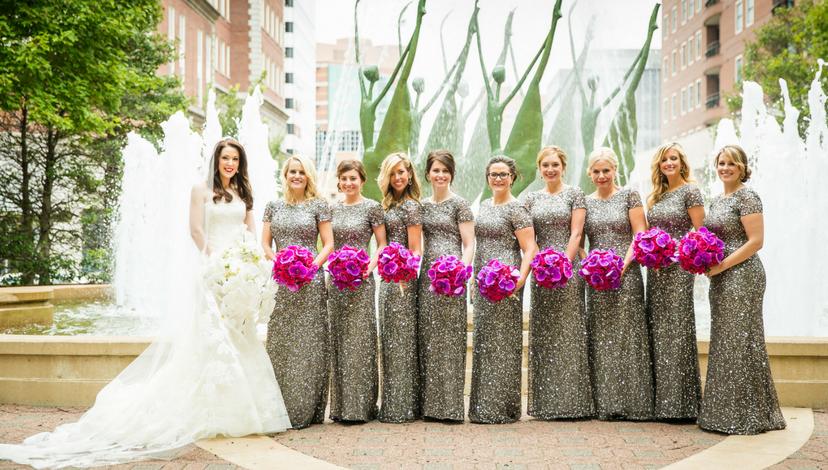 Vibrant Bridesmaid Flowers | BBJ Linen