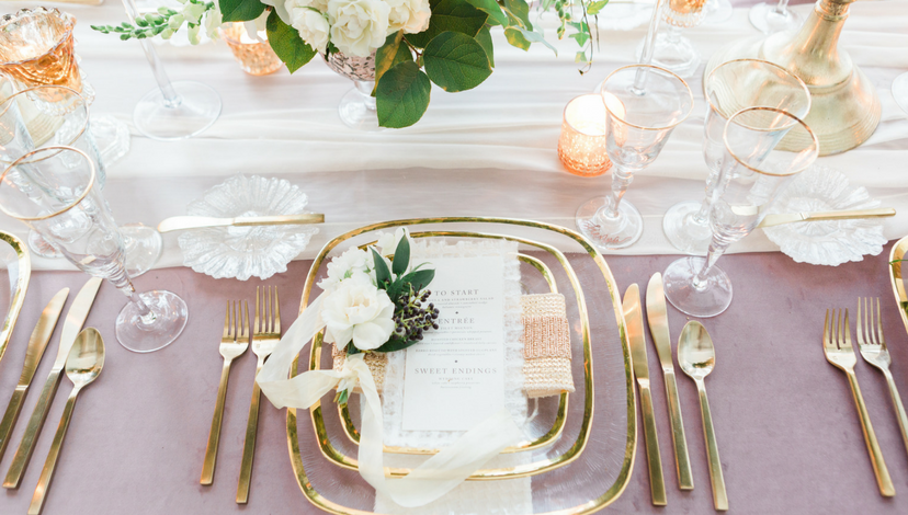 Dusty Lavender with Gold Wedding | BBJ Linen