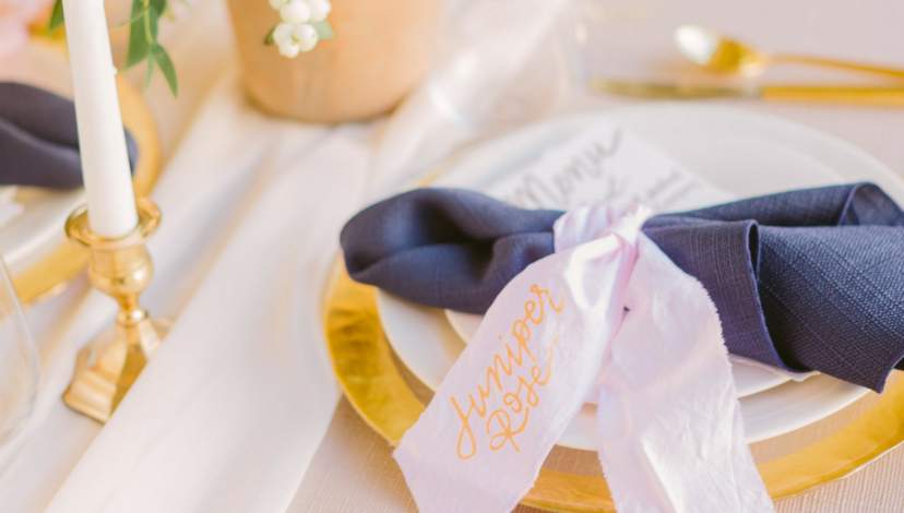 Navy Blue and Gold Accents Wedding | BBJ Linen