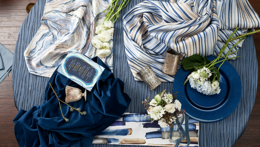 Blue Marble Pattern Tablecloth | BBJ Linen