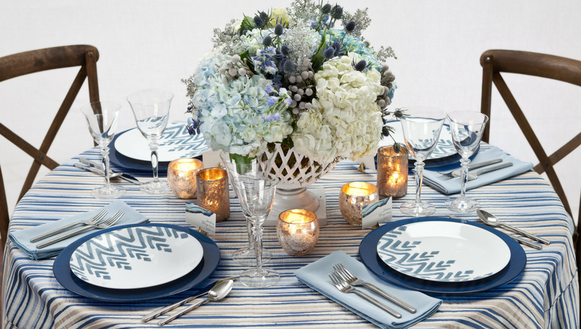 Blue Striped Table Linen | BBJ Linen