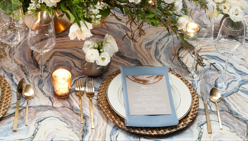 Blue Marble Agate Table | BBJ Linen