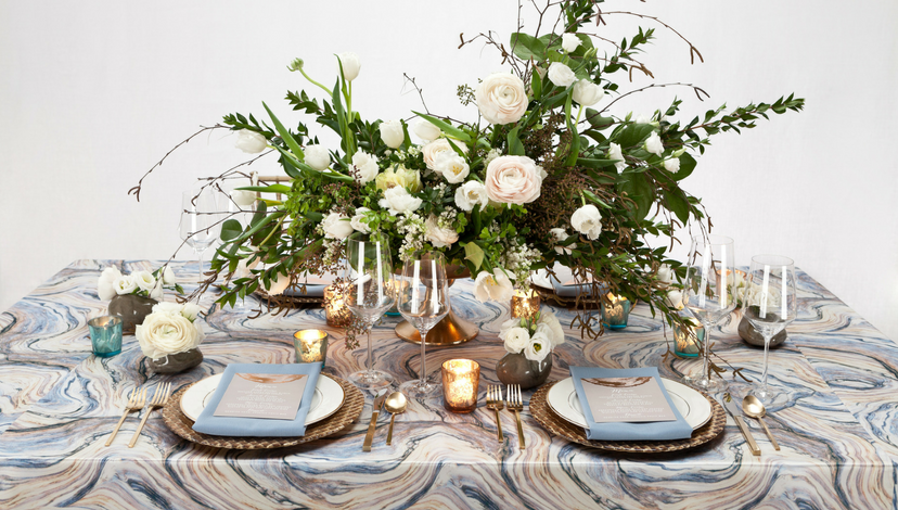 Blue Marble Table Centerpiece | BBJ Linen
