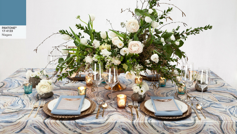Blue Agate Marble Table | BBJ Linen
