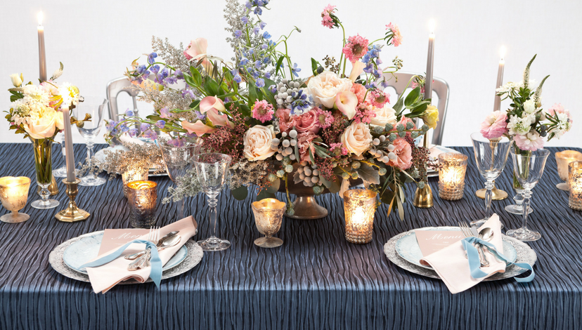 Blue Wavy Pattern Table | BBJ Linen