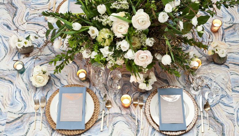 Blue Marble Agate Tablecloth | BBJ Linen
