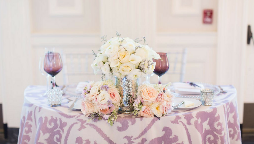 Purple Damask Pattern Table | BBJ Linen