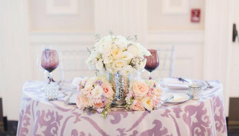 Purple Damask Pattern Table | BBJ Linen