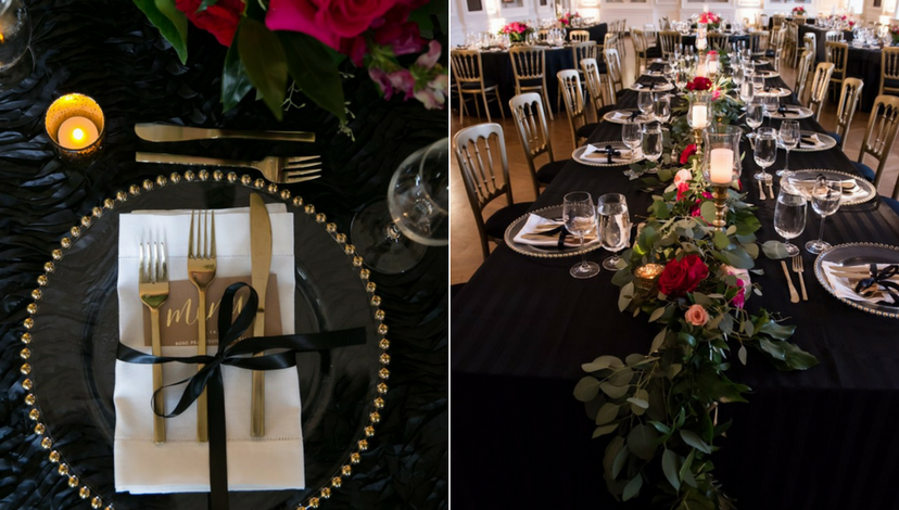 Black Tie Wedding Decor | BBJ Linen