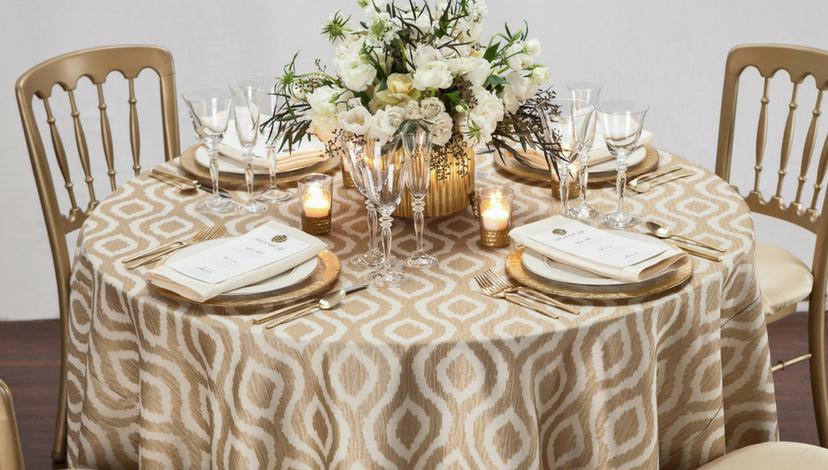 Gilded Jakarta Table Linen Tablescape | BBJ Linen