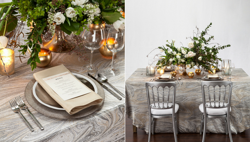 Silver Marble Swirl Table Linen | BBJ Linen