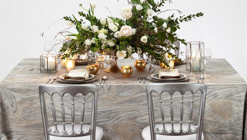 Silver Marble Swirl Table | BBJ Linen