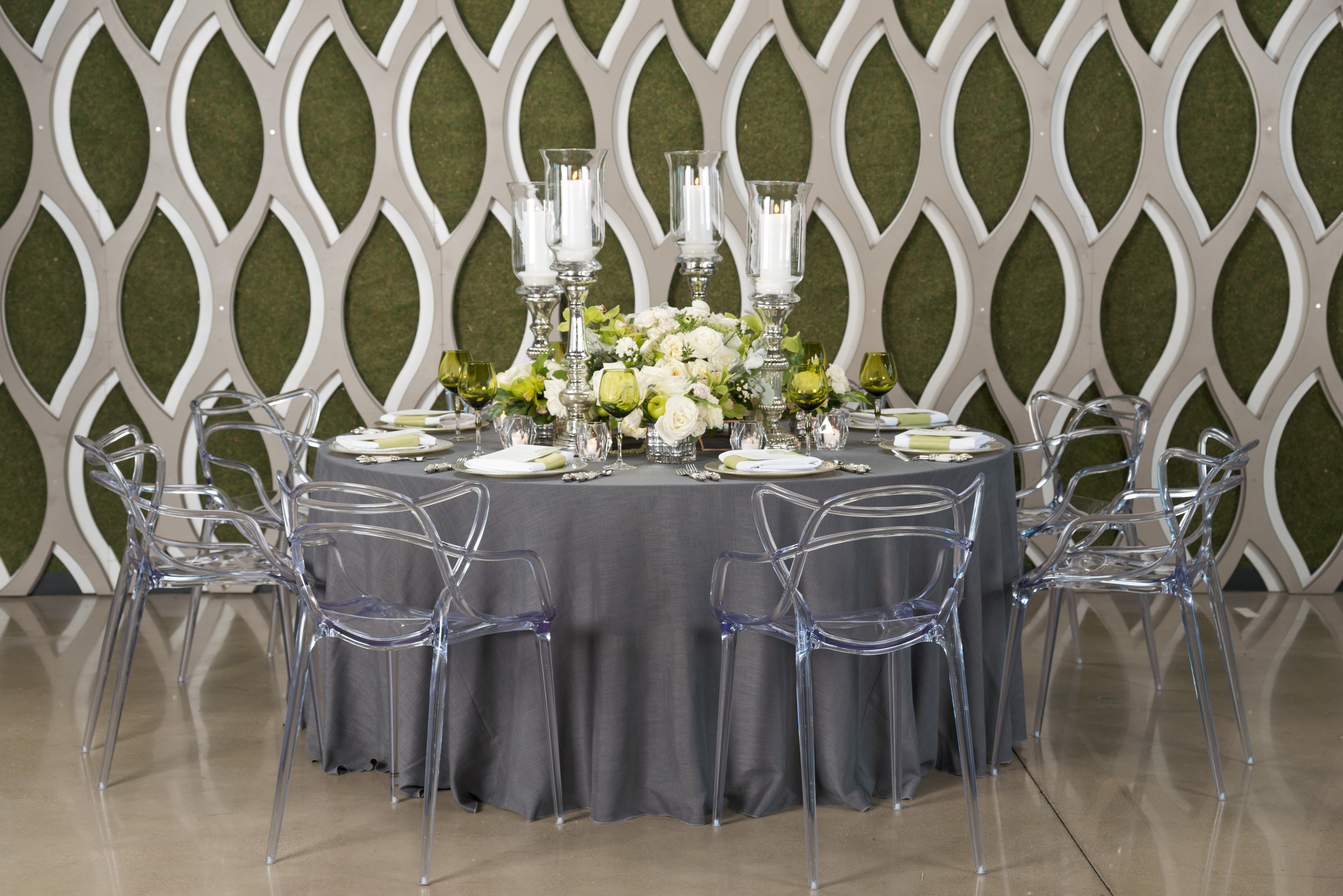 BBJ Linen Everlast Kehoe Collection - Steel Brimble Tablescape
