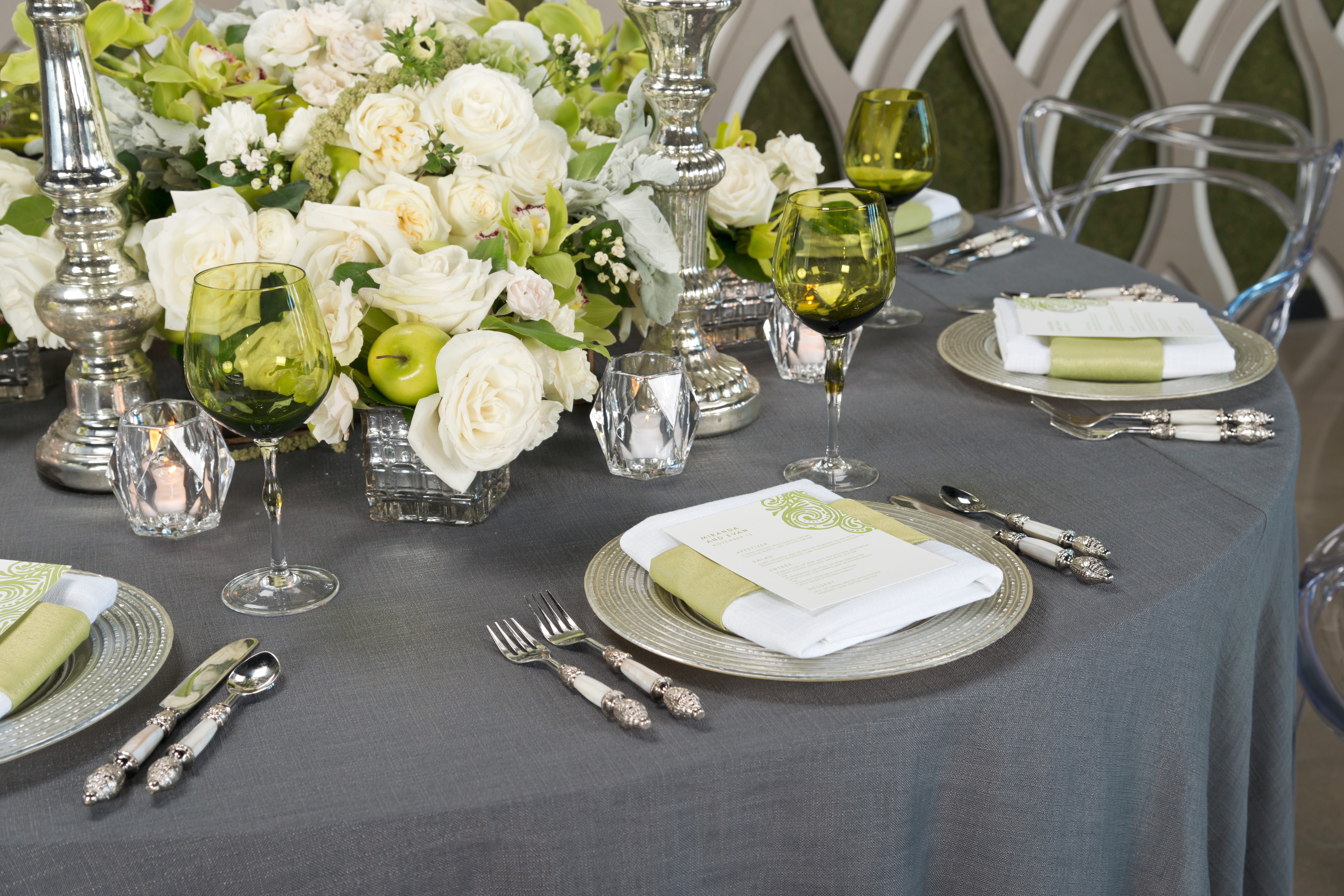 BBJ Linen Everlast Kehoe Collection - Steel Brimble Tablescape 2
